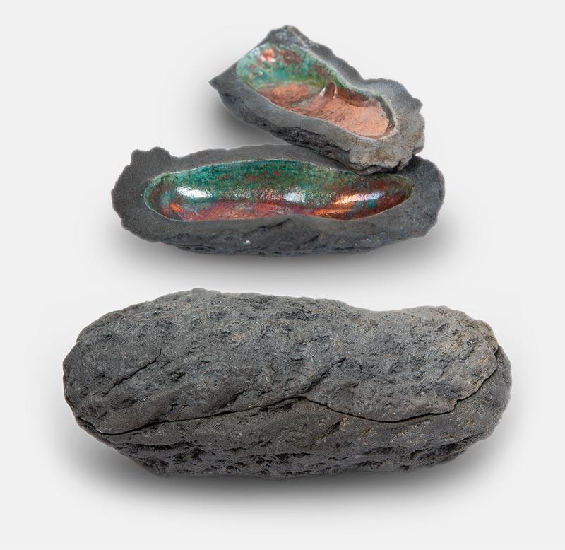 météorite raku cuivré - sculpture matthieu mary